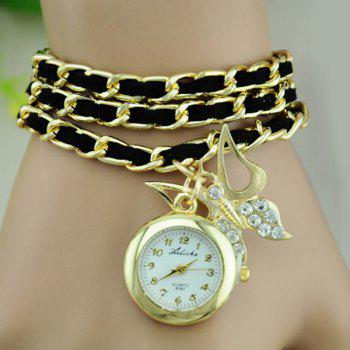 Faux Leather Chain Butterfly Bracelet Watch