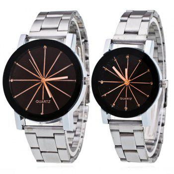 Pair of Rhinestone Ray Geometric Couple Watches