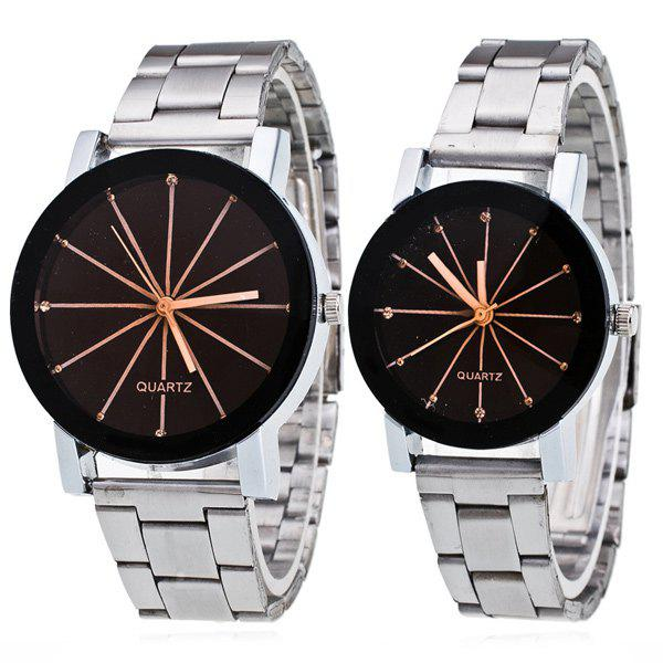 Pair of Rhinestone Ray Geometric Couple Watches - BLACK