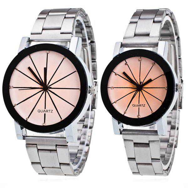Pair of Rhinestone Ray Geometric Couple Watches - WHITE