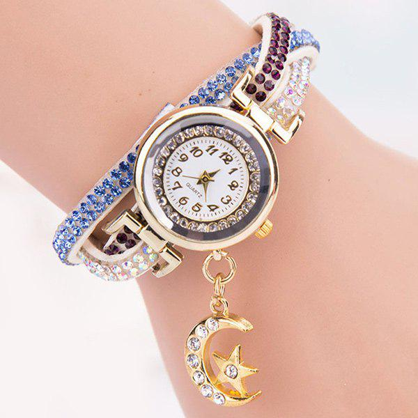 Rhinestoned Star Moon Bracelet WatchWatches<br><br><br>Color: WHITE