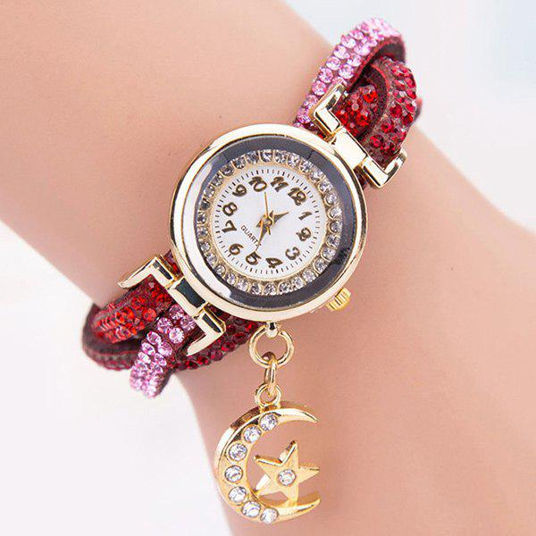 Rhinestoned Star Moon Bracelet Watch все цены