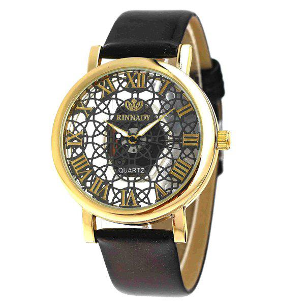 Faux Leather Roman Numerals Embellished Watch - BLACK