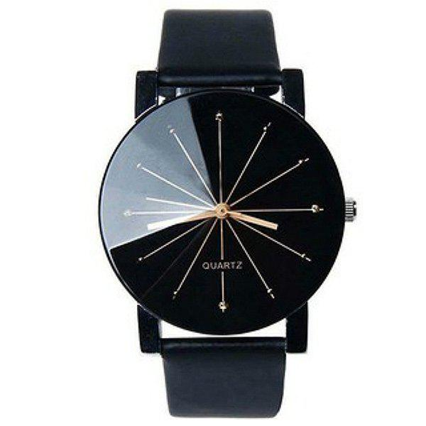 Geometric Ray PU Leather Watch - BLACK