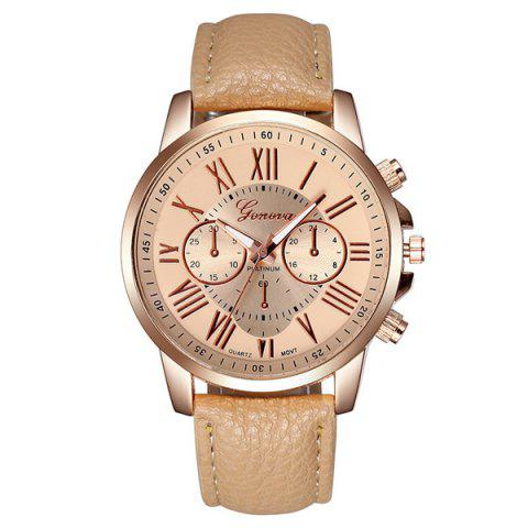 Big Dial Plate PU Leather Watch - OFF WHITE
