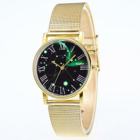 Stainless Steel Roman Numerals Dial Watch - GOLDEN