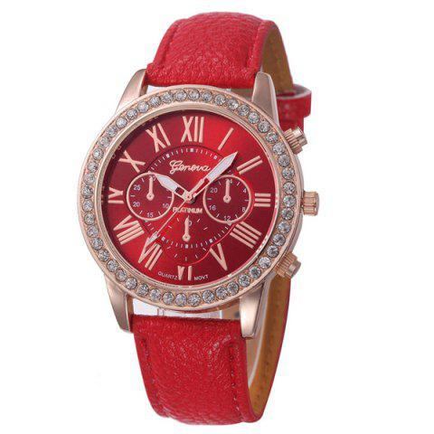 Montre à Quartz avec Sangle en Cuir PU et en Strass - Rouge