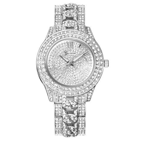 Vintage Rhinestoned Quartz Watch - SILVER