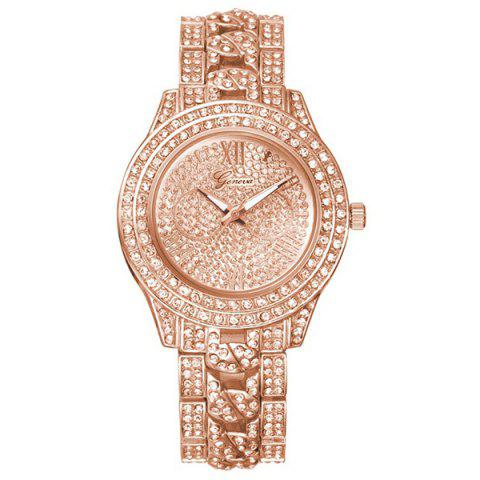 Vintage Rhinestoned Quartz Watch - ROSE GOLD