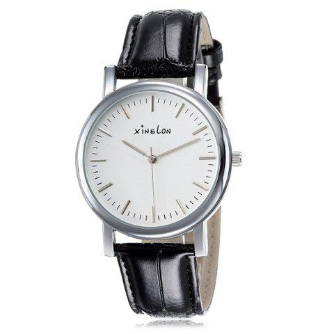 Artificial Leather Adorn Vintage Watch - SILVER
