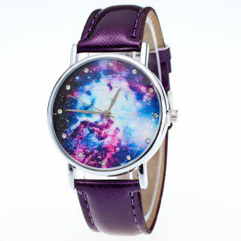Starry Sky Dial PU Leather Watch