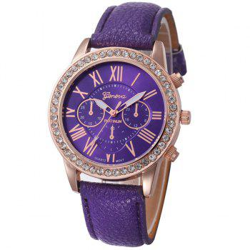 Rhinestone PU Leather Quartz Watch