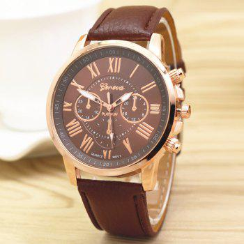Big Dial Plate PU Leather Watch