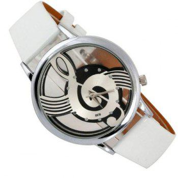 Music Note Dial PU Leather Watch