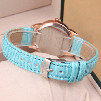 Roman Numerals Rhinestone PU Leather Watch - AZURE