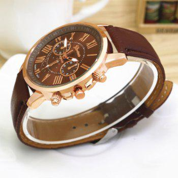Big Dial Plate PU Leather Watch - BROWN