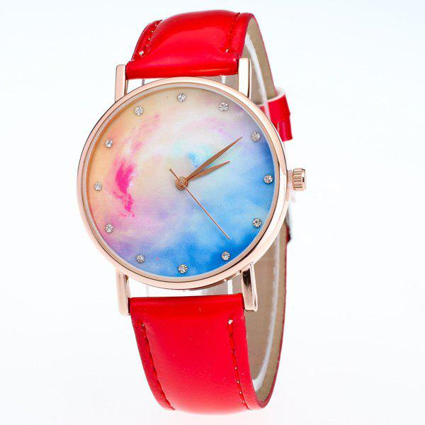 Rhinestone Sky Dial PU Leather Watch - RED