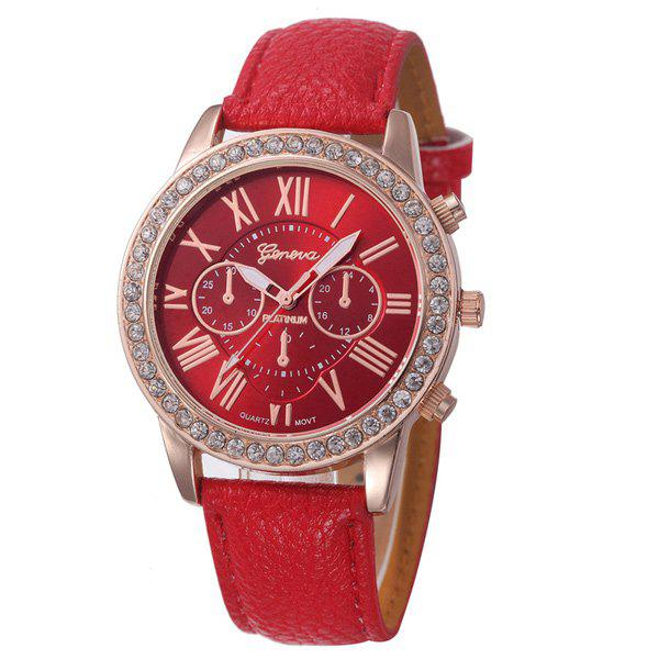 Rhinestone PU Leather Quartz Watch - RED