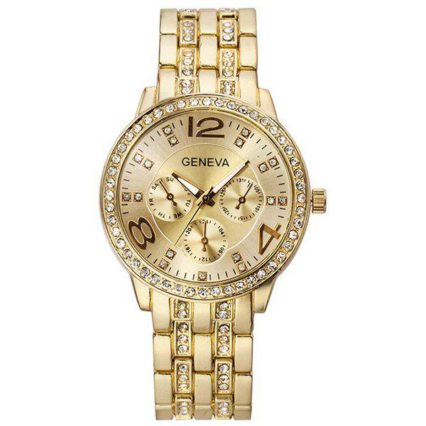 Rhinestone Stainless Steel Watch - GOLDEN