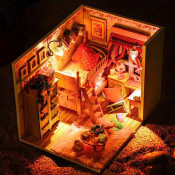 Wooden Doll House Mini Kit with LED Light Furniture DIY Handcraft Toy - COLORMIX