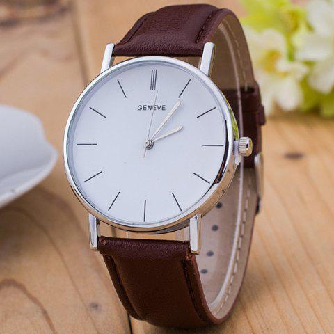 Vintage Faux Leather Watch - BROWN