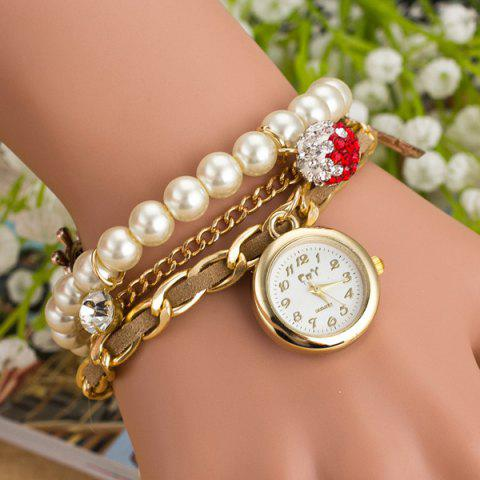 Faux Pearl Rhinestone Bracelet Watch - COLORMIX