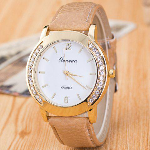 Vintage Faux Leather Rhinestone Quartz Watch - KHAKI