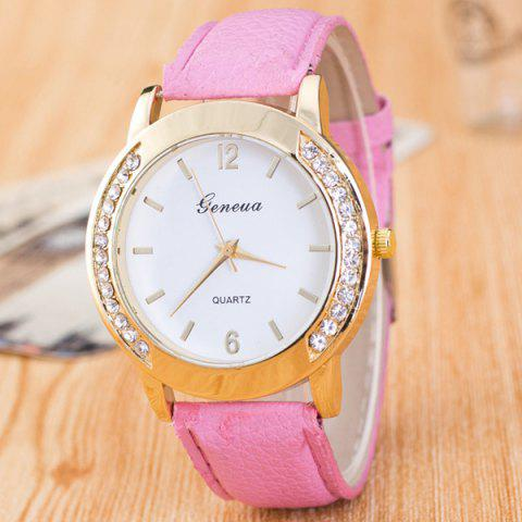 Vintage Faux Leather Rhinestone Quartz Watch - PINK