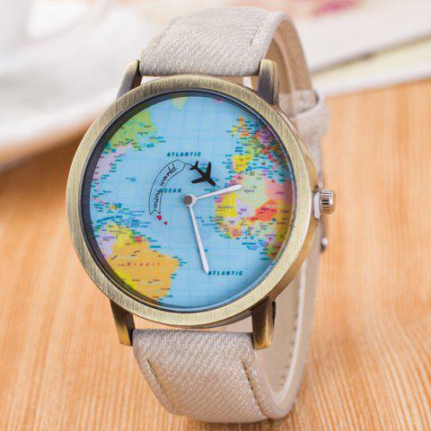 Travel World Map Airplane Quartz Watch - WHITE