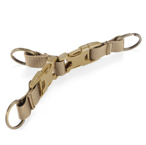 High-density Nylon Tactical Keychain with 3 Key Rings for MOLLE System - KHAKI