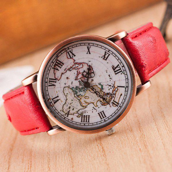 Roman Numerals World Map Quartz Watch - RED