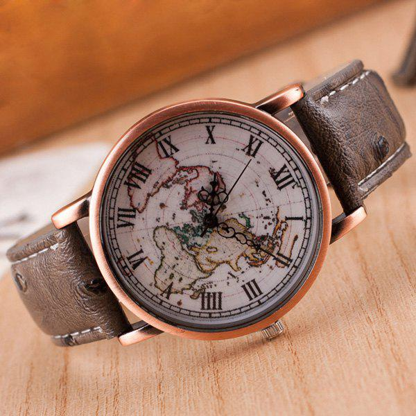 Roman Numerals World Map Quartz Watch - LIGHT COFFEE