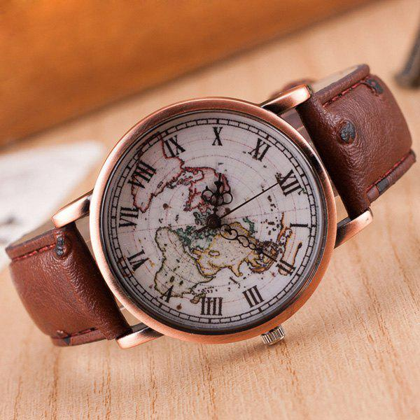 Roman Numerals World Map Quartz Watch - ESPRESSO