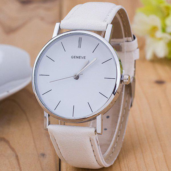 Vintage Faux Leather Watch - WHITE