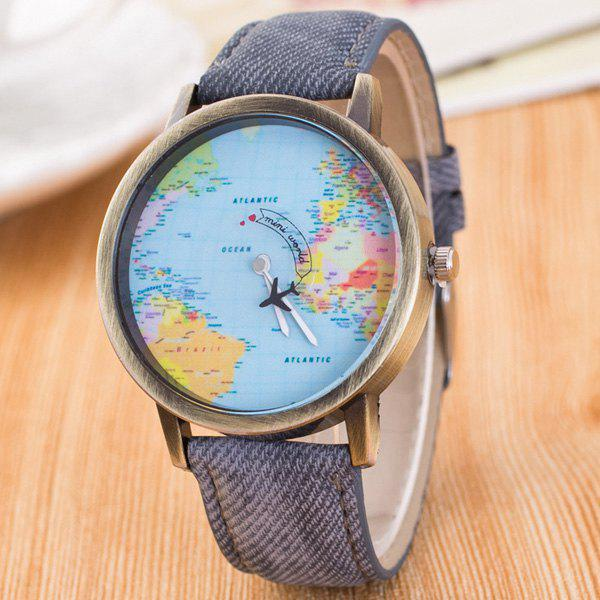 Travel World Map Airplane Quartz Watch - GRAY