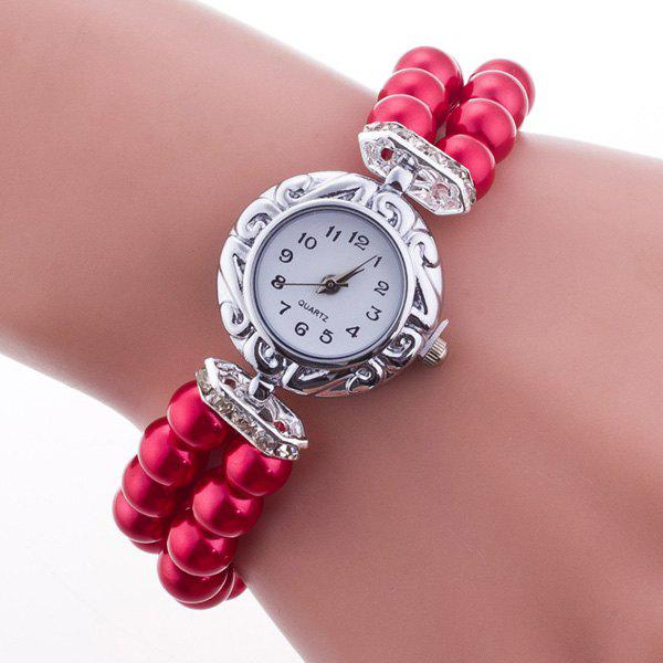 Adorn Beaded Bracelet Watch - RED