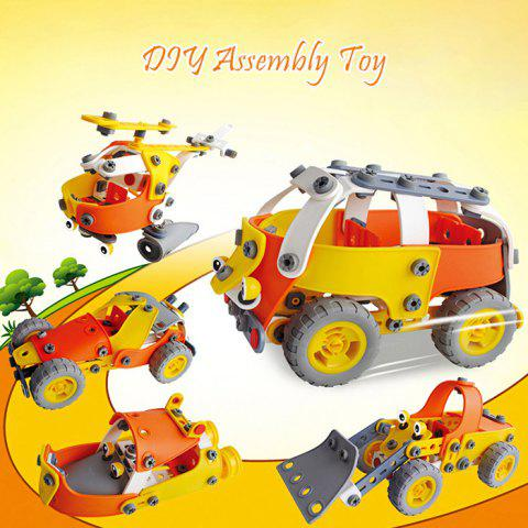 Transformable Vehicle DIY Assembly Kit with 5 Shapes Intelligence Development Toy for Kids - BLACK/ORANGE