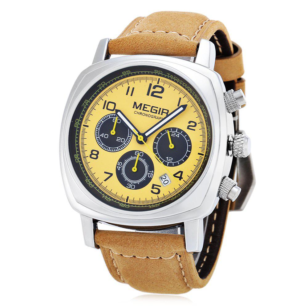 MEGIR 1056 Water Resistance Working Sub-dials Quartz Watch Date Function Genuine Leather Band for Men - YELLOW