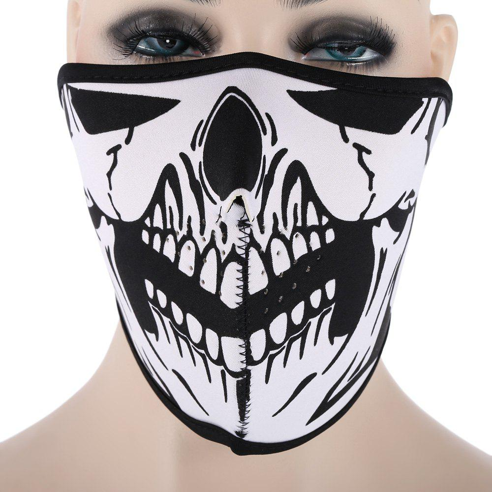 Outdoor Cycling Skull Mask Windproof Riding Face Guard - WHITE/BLACK