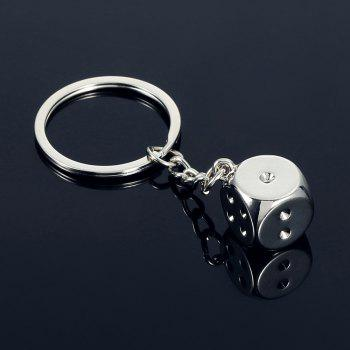 Alloy Dice Key Chain Hanging Pendant Keyring - 2.95 inch -  SILVER