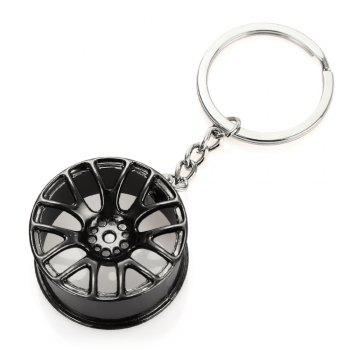 Wheel Hub Alloy Key Chain Hanging Pendant Keyring - 3.54 inch -  BLACK