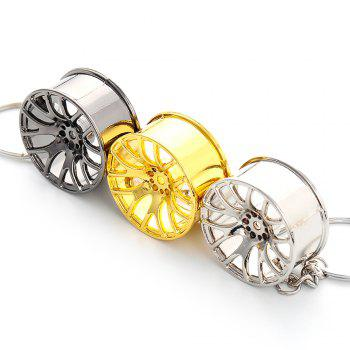 Wheel Hub Alloy Key Chain Hanging Pendant Keyring - 3.54 inch -  GOLDEN