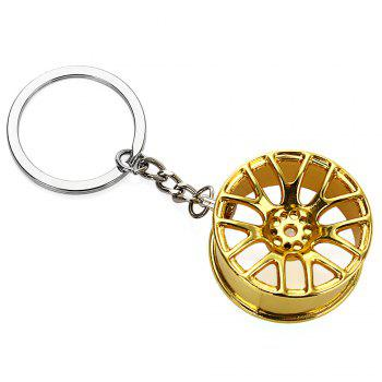 Wheel Hub Alloy Key Chain Hanging Pendant Keyring - 3.54 inch - GOLDEN GOLDEN