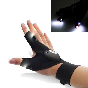 Fishing Glove with 2 LED Lights for Night Activities - BLACK