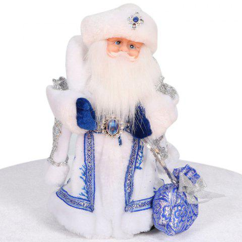 Santa Clause Figure Model Lovely Plush Doll Soft Cute Stuffed Toy with Music - 11.8 inch - BLUE