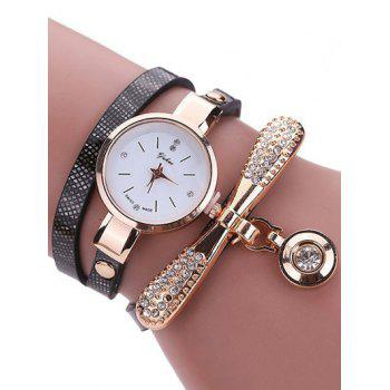 PU Leather Rhinestone Wristband Bracelet Watch