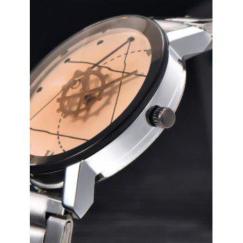 Gear Geometric Dial Stainless Steel Watch - WHITE