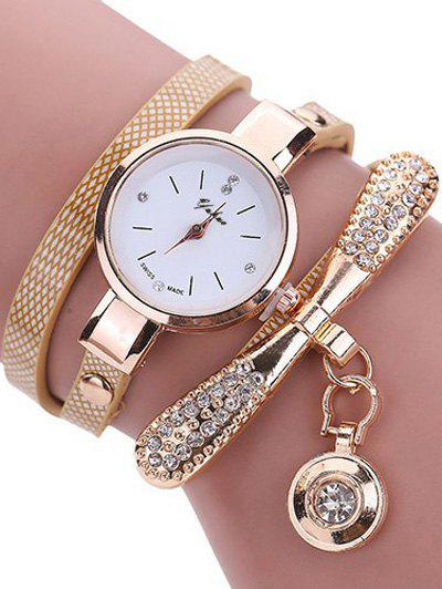 PU Leather Rhinestone Wristband Bracelet Watch - OFF WHITE