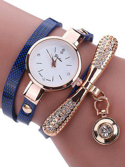 PU Leather Rhinestone Wristband Bracelet Watch, Blue
