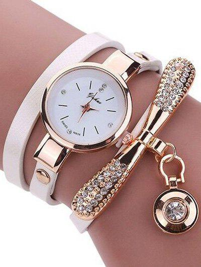 PU Leather Rhinestone Wristband Bracelet Watch - WHITE